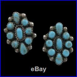 Vintage Navajo Native American Sterling Silver Turquoise Cluster Post Earrings