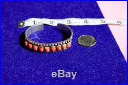 Vintage Navajo Native American silver spiny oyster ingot cuff bracelet