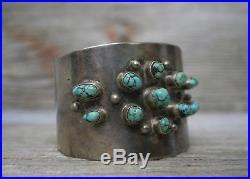 Vintage Navajo Native Vintage Turquoise Sterling Silver Cuff Bracelet Men's Size