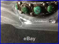 Vintage Navajo Old Pawn Heavy Sterling Silver Royston Turquoise Cuff 55 grams