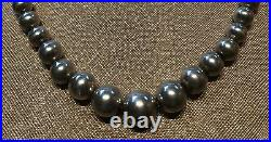 Vintage Navajo Old Pawn Sterling Silver Graduated Bead Necklace