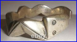 Vintage Navajo Old Pawn sterling silver Fred Harvey era sandcast snake bracelet