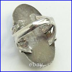 Vintage Navajo Oval Petrified Wood Ring Size 7 Beautiful Stone Sterling Silver