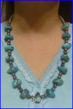 Vintage Navajo Pawn TURQUOISE & PEARLS Sterling Silver Bench Beads 25 Necklace