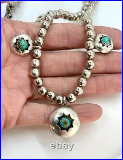 Vintage Navajo Pearl Sterling Silver Royston Turquoise Squash Blossom Necklace