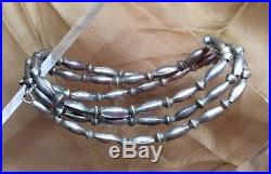 Vintage Navajo Pearl Sterling Silver Stamped Bench Bead 25 Necklace 15.2g