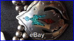 Vintage Navajo Peyote Bird necklace sterling silver withturquoise/Coral chip inlay