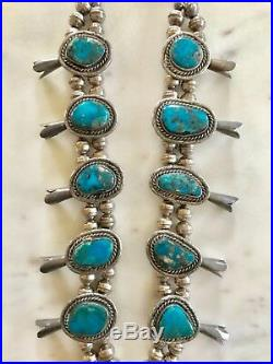 Vintage Navajo RARE Morenci Turquoise/Sterling Squash Blossom Necklace 179 grams