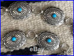 Vintage Navajo Robert Becenti Sterling Silver and turquoise Concho Belt