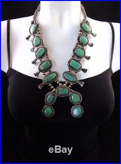Vintage Navajo Royston Turquoise/Sterling Silver Squash Blossom Necklace 176g