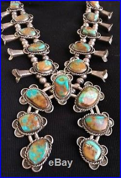 Vintage Navajo Royston Turquoise Sterling Silver Squash Blossom Necklace-signed