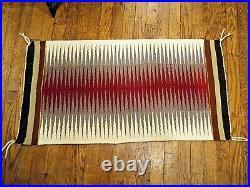Vintage Navajo Rug Eye Dazzler 20 x 38 Native American Hand Made Rug Weaving