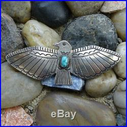 Vintage Navajo Signed Large Turquoise Thunderbird Pin Brooch Stamp Decorated