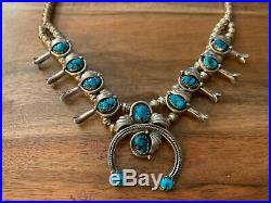 Vintage Navajo Signed Sterling Turquoise Squash Blossom Necklace