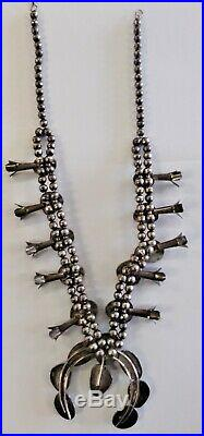 Vintage Navajo Silver Squash Blossom Necklace with Arizona Turquoise
