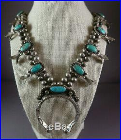 Vintage Navajo Silver & Turquoise Squash Blossom Necklace 29.5 Long 168.5 Grams