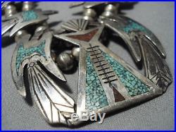 Vintage Navajo Singer Turquoise Coral Sterling Silver Squash Blossom Necklace