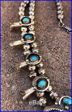 Vintage Navajo Sleeping Beauty Turquoise Sterling Silver Squash Blossom Necklace