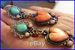 Vintage Navajo Spiny Oyster Heart Turquoise Sterling Silver Earrings