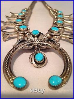 Vintage Navajo Squash Blossom Necklace Excellent Condition