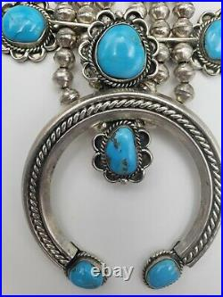 Vintage Navajo Squash Blossom Necklace Native American Turquoise 1970s