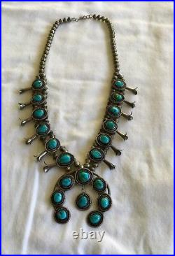 Vintage Navajo Squash Blossom Necklace Sterling Silver And Turquoise Signed 1960