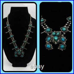 Vintage Navajo Squash Blossom Necklace Sterling Silver Stunning Turquoise 24