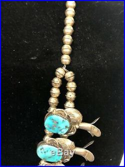 Vintage Navajo Squash Blossom Sterling Silver Necklace, High Quality Turquoise