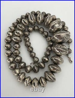 Vintage Navajo Stamped Sterling Silver Bench Bead Pearl 8-24mmGraduated Necklace