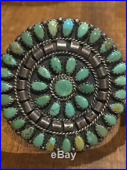 Vintage Navajo Sterling Petit Point Royston Turquoise Cluster Bracelet Signed MP