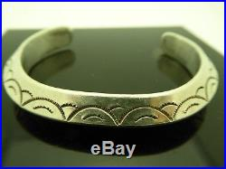 Vintage Navajo Sterling Silver 925 Heavy Old Pawn Stamped Cuff Bracelet Sz. 7