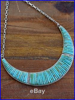 Vintage Navajo Sterling Silver And Turquoise Inlay Necklace Set By Pete Sierra