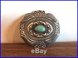 Vintage Navajo Sterling Silver Belt Buckle Turquoise Repousse Native American