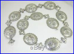 Vintage Navajo Sterling Silver Concho Belt Necklace 30 101 Grams
