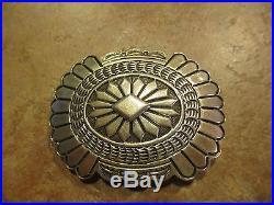 Vintage Navajo Sterling Silver DESIGN Belt Buckle Signed D