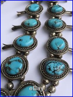 Vintage Navajo Sterling Silver Gem Bisbee Turquoise Squash Blossom Necklace 23