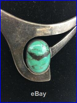 Vintage Navajo Sterling Silver Genuine Turquoise Choker Collar Necklace T6