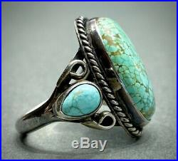 Vintage Navajo Sterling Silver Green Spiderweb Turquoise Ring