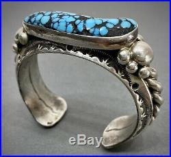 Vintage Navajo Sterling Silver Kingman Spiderweb Turquoise Cuff Bracelet HEAVY