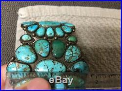 Vintage Navajo Sterling Silver Turquoise Bracelet Signed