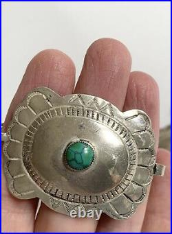 Vintage Navajo Sterling Silver Turquoise Concho Belt Stamped Conchas Chain Link