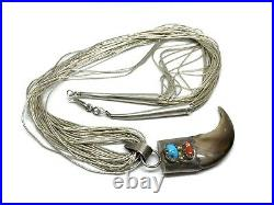 Vintage Navajo Sterling Silver Turquoise Coral Faux Bear Claw Pendant Necklace