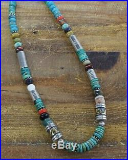 Vintage Navajo Sterling Silver Turquoise/Multi-Stone Bead Necklace Tommy Singer