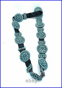 Vintage Navajo Sterling Silver Turquoise & Petit Point 20-Station Concho Belt