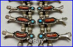 Vintage Navajo Sterling Silver Turquoise and Coral Squash Blossom Necklace MINT