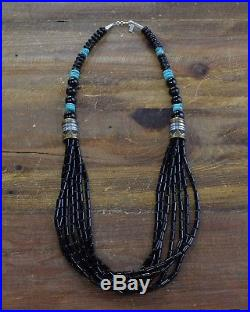 Vintage Navajo Sterling Silver, Turquoise, and Onyx Necklace By Tommy Singer