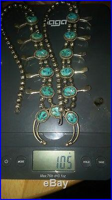 Vintage Navajo Sterling Silver and Turquoise Squash Blossom neckless
