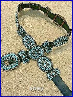 Vintage Navajo Sterling/Turquoise Concho Belt Famous Victor Moses Begay. 4316pc