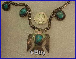 Vintage Navajo Sterling & Turquoise THUNDERBIRD Necklace Pendant Squash Blossom