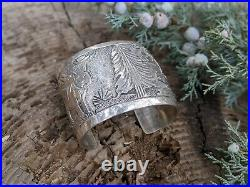 Vintage Navajo Story Teller Cuff Bracelet Sterling Becenti Signed Jewelry